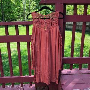 Cold shoulder long sleeve dress